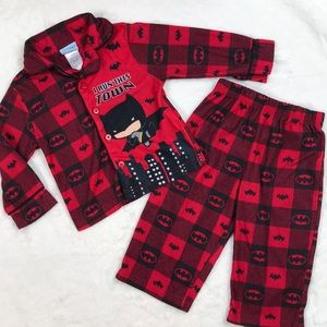 Red and Black Christmas Plaid Batman Pajamas